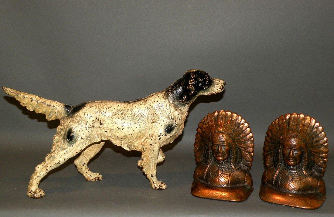368: Pair of Indian chief bookends & dog doorstop