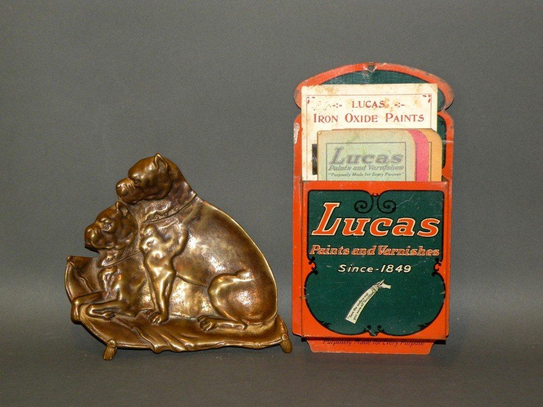 385: Advertising wall pocket & figural ashtray