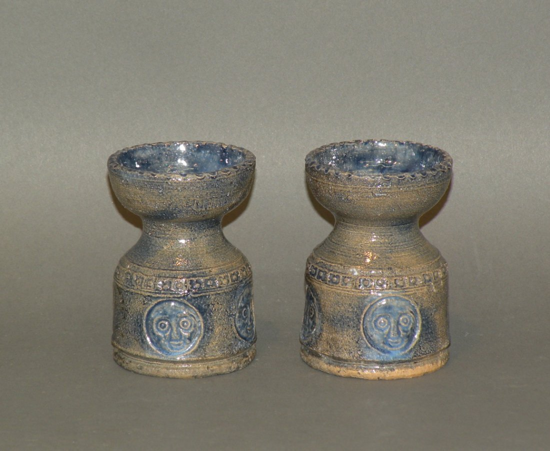 1: Pair of Left Handed Russell Henry candlesticks