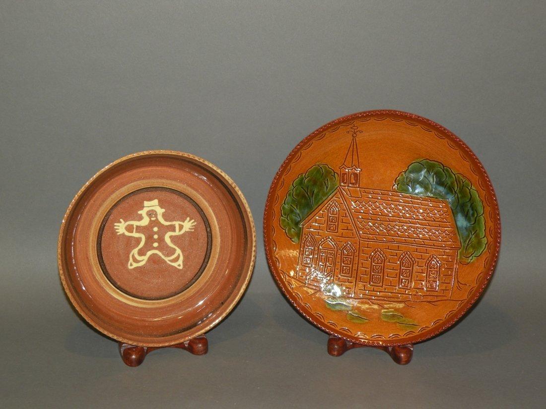 21: 2 pottery plates