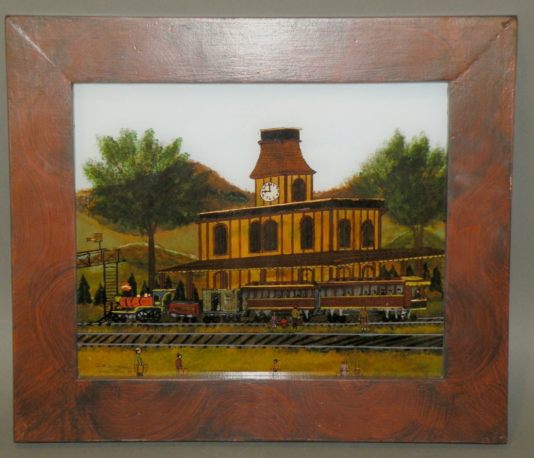 24: Guttshall reverse painting of train station