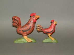 2 Strawser Chicken Carvings
