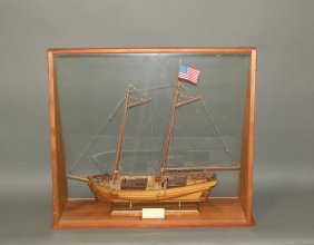 Wooden Ship Model In Case