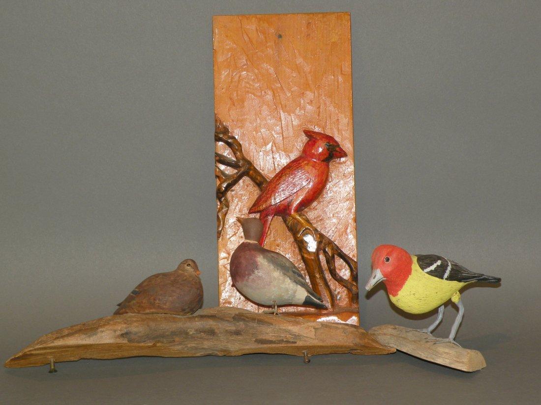 83: 3 folk art bird carvings