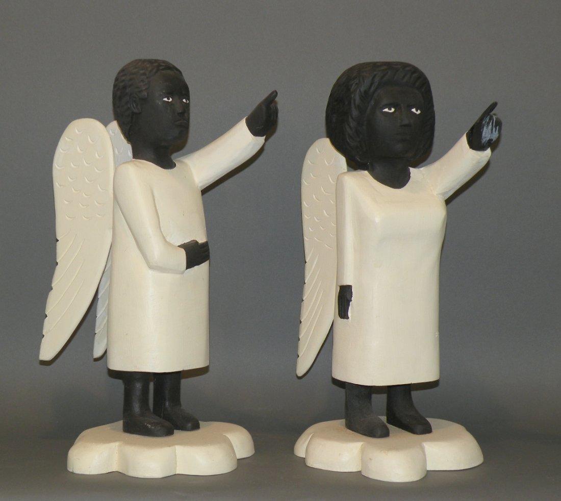 88: Pair of Huneck angel carvings