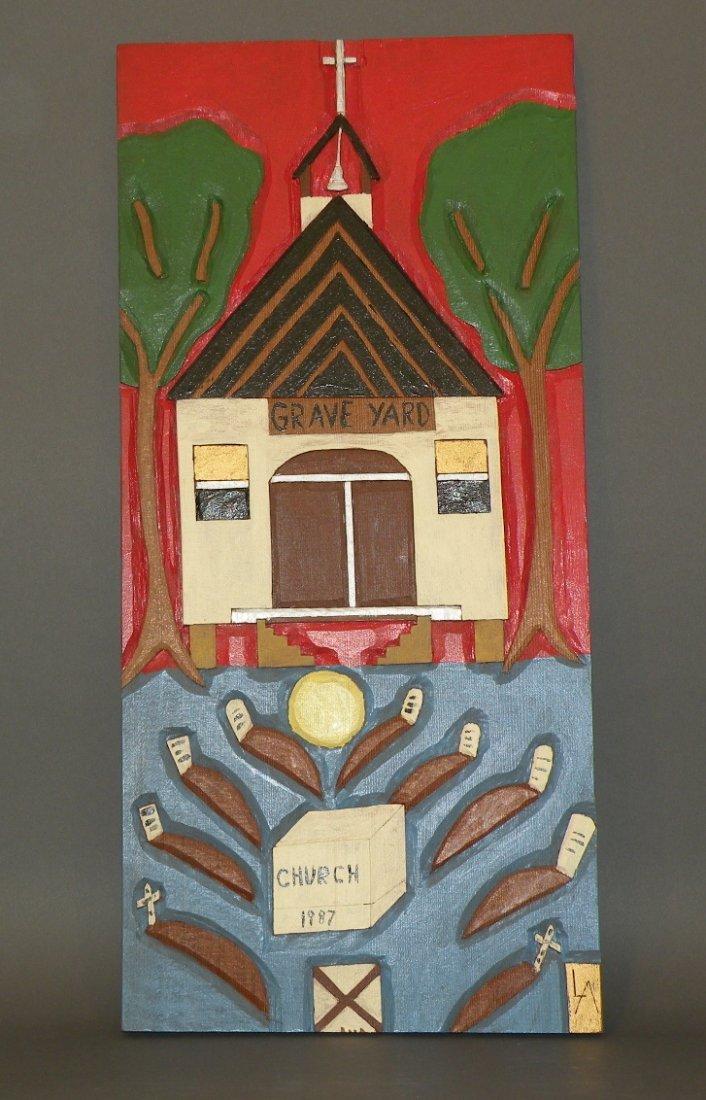 89: Folk art carved plaque of church & graveyard