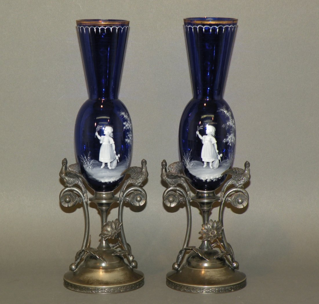 152: Pair of Mary Gregory cobalt glass vases