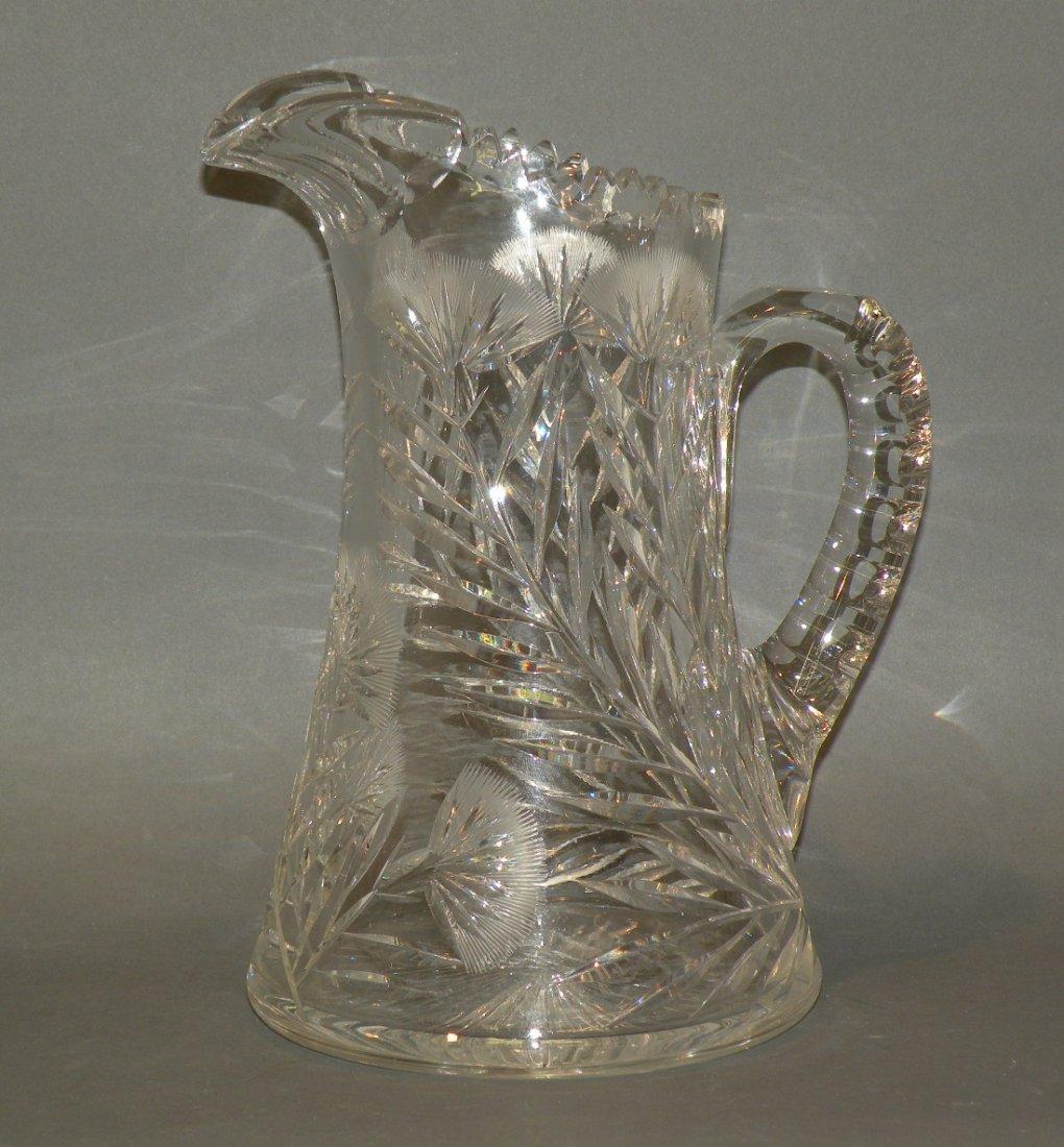 164: Clark brilliant cut glass pitcher