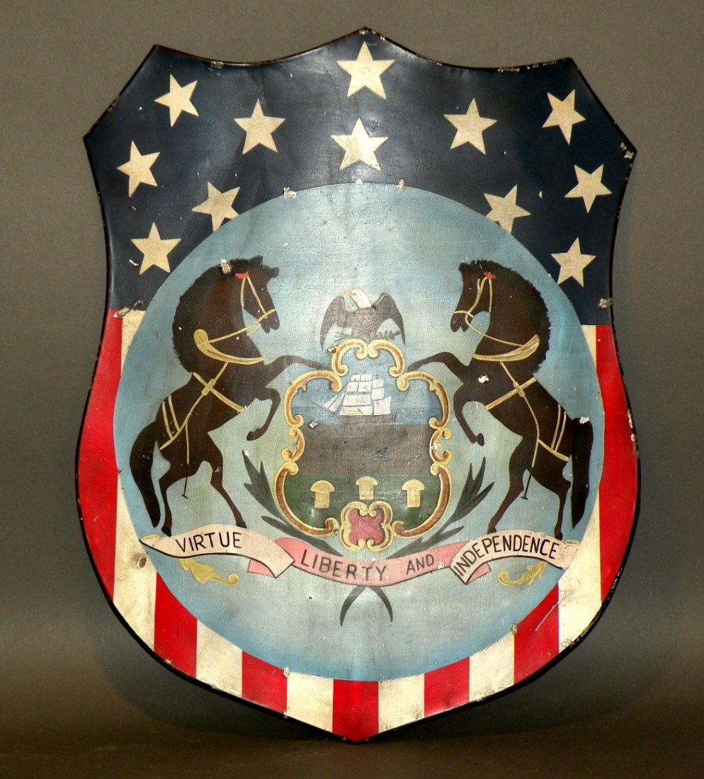 312: Painted tin PA state seal shield