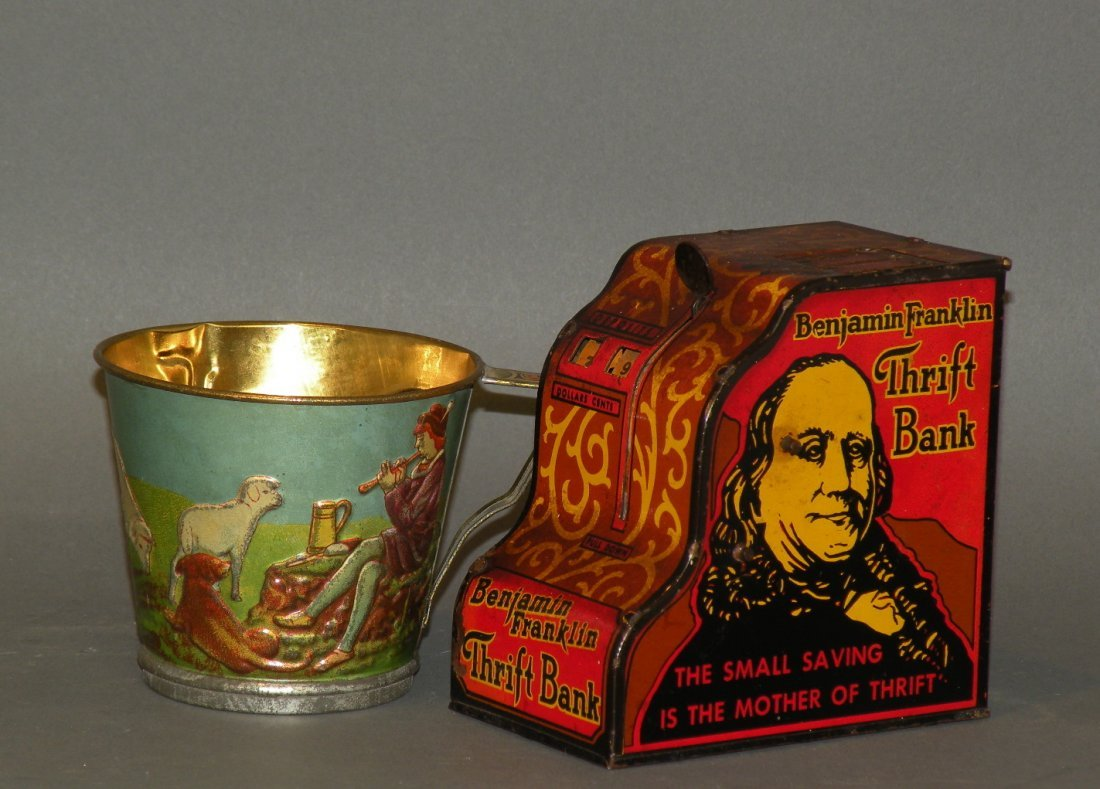 334: Marx thrift bank & tin child's rattle cup