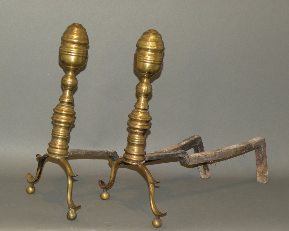 376: Pair of cast brass andirons