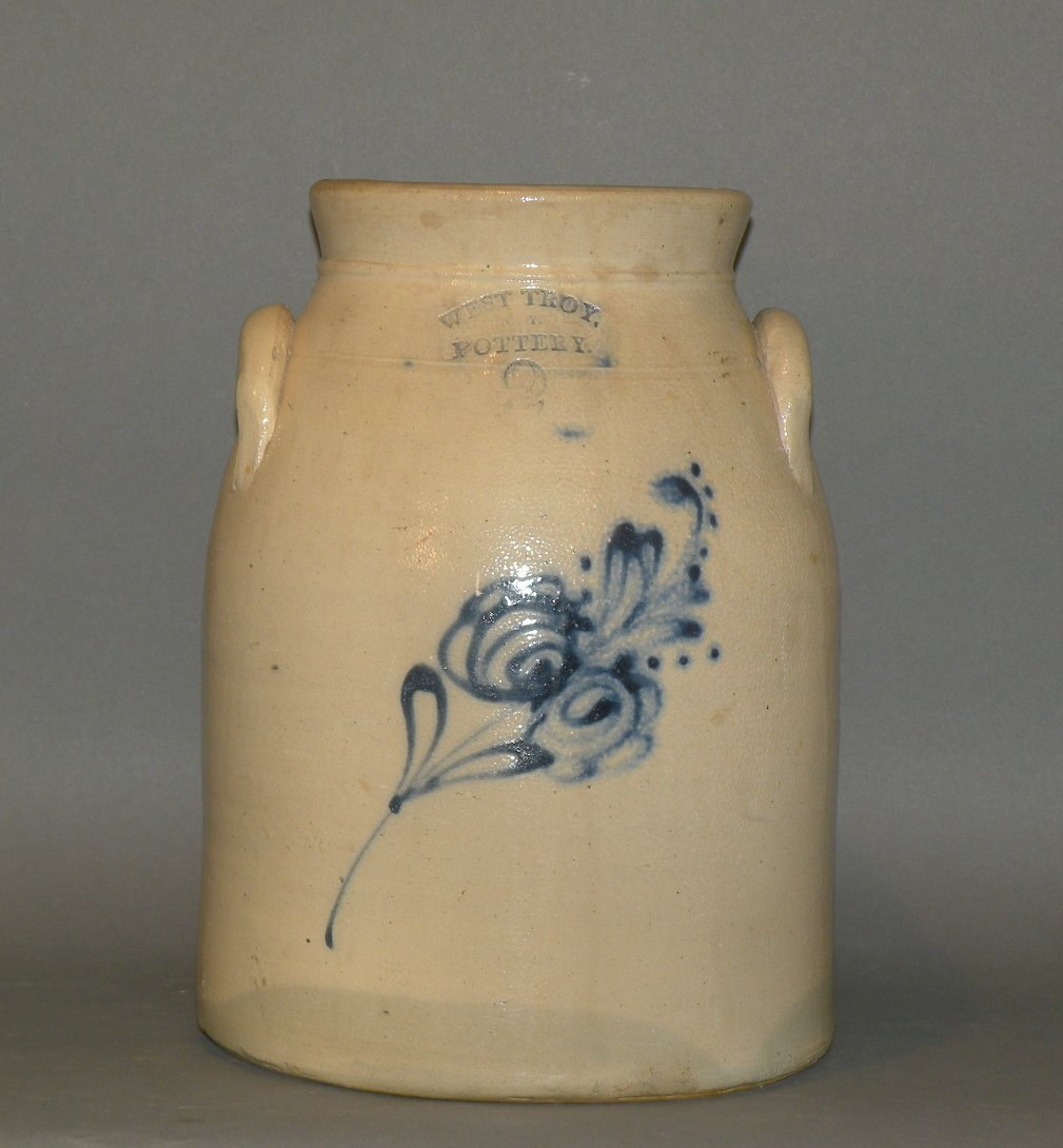382: West Troy Pottery 2 gallon cobalt decorated butter