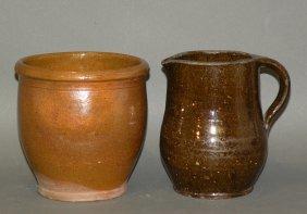 PA Redware Creamer & Jelly Jar