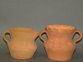 Schofield Redware Urn & Creamer