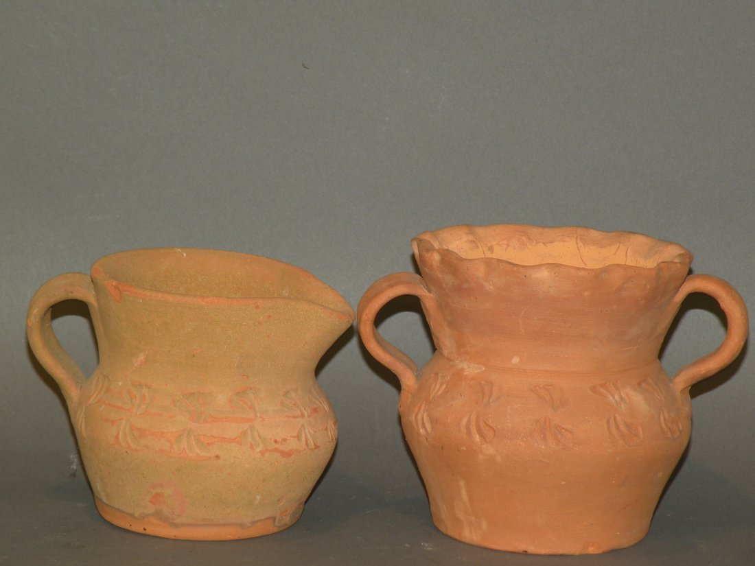 392: Schofield redware urn & creamer
