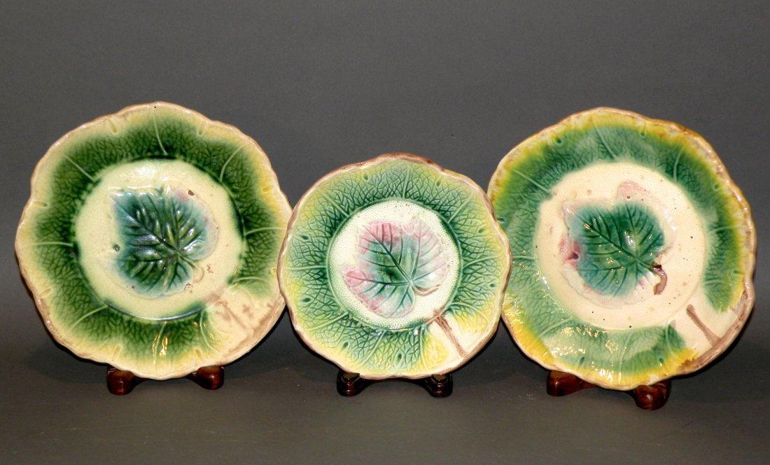 396: 3 Majolica maple leaf plates