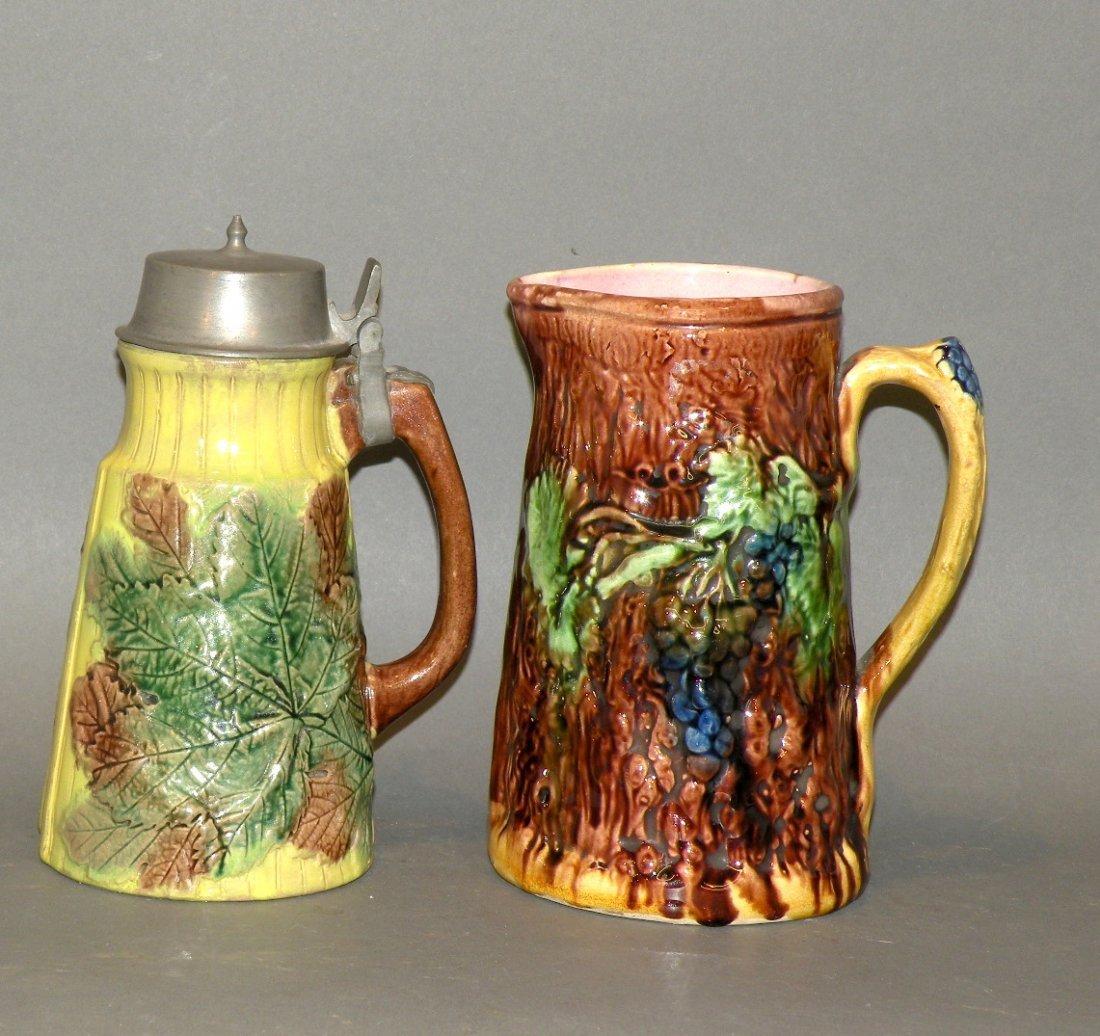 397: Majolica syrup dispenser & pitcher