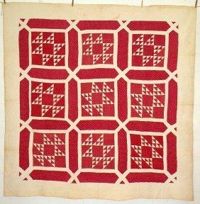 Red & White Nine Block Quilt