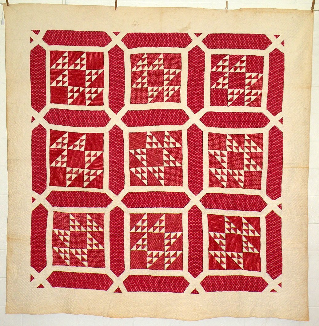 404: Red & white nine block quilt