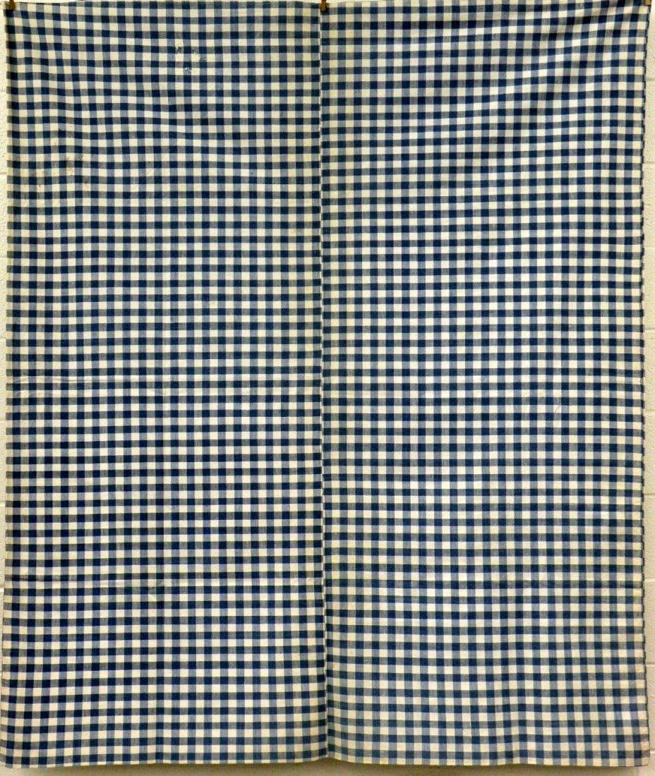 406: Cotton check tick & 3 pieces of homespun linen