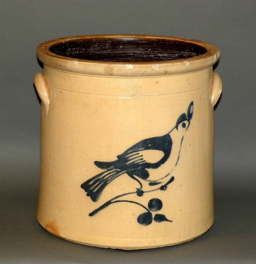 413: 3 gallon cobalt decorated stoneware crock