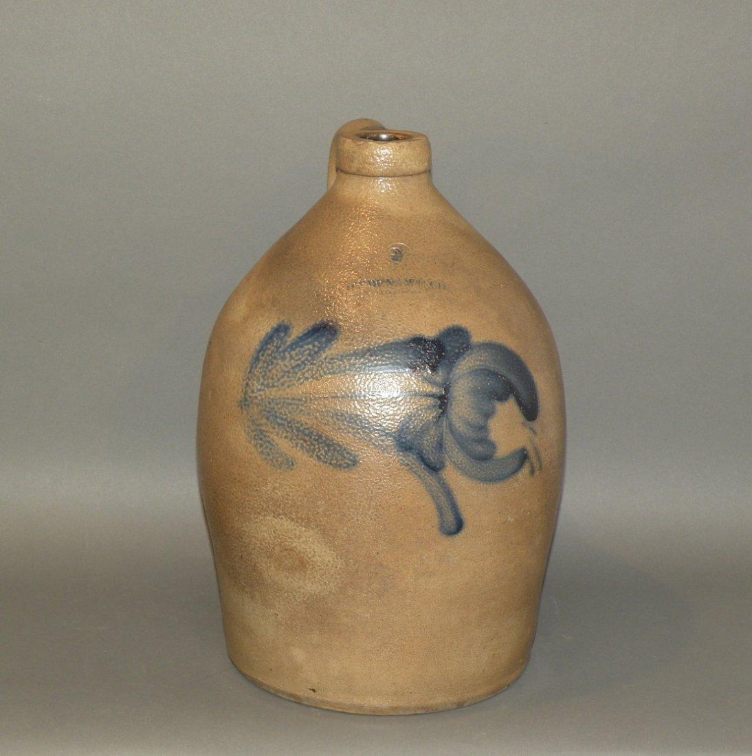 414: 2 gallon Cowden & Wilcox cobalt decorated jug