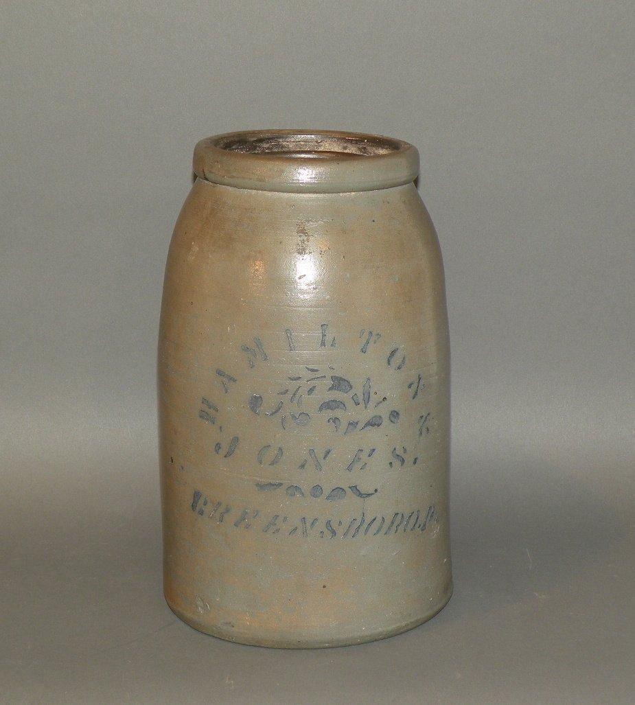 415: Hamilton & Jones cobalt stenciled stoneware canner