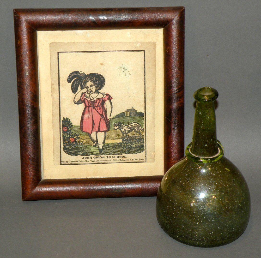 Squat bottle & hand colored print
