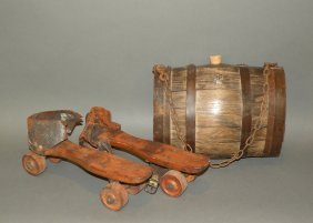 Wooden Skates & Water Keg
