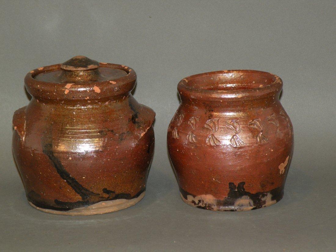 468: 2 Schofield glazed redware jars