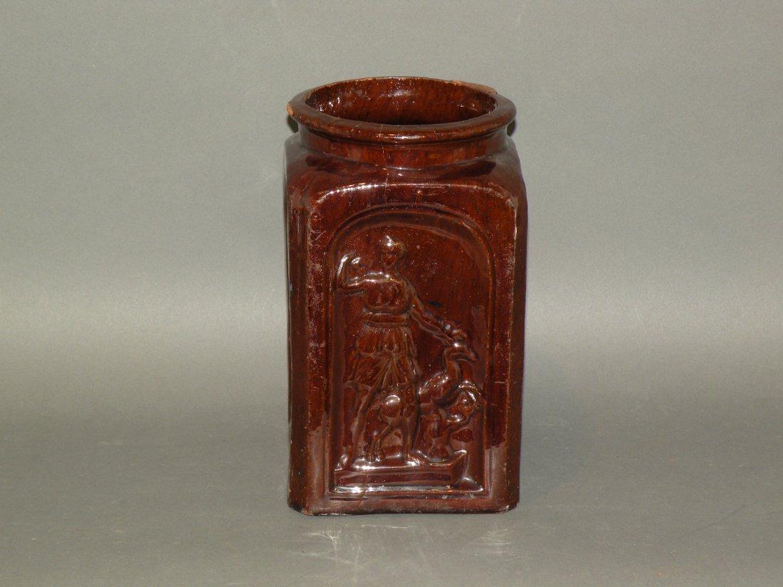 471: Gast Pottery molded redware jar