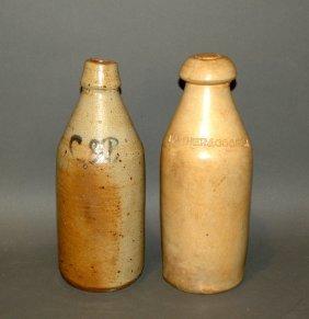 2 Cylindrical Form Stoneware Bottles