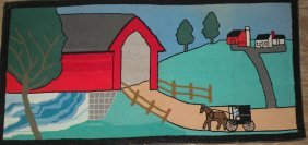 Amish Covered Bridge Hooked Rug