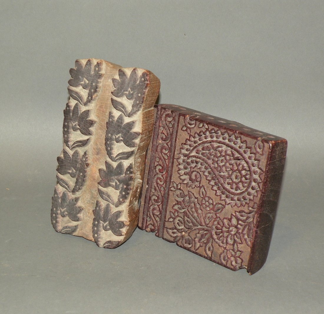 514: 2 carved wooden textile stamps
