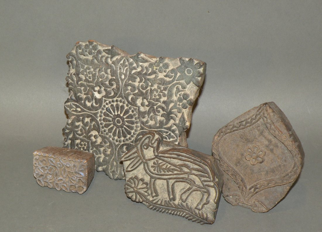 516: 4 wooden textile stamps