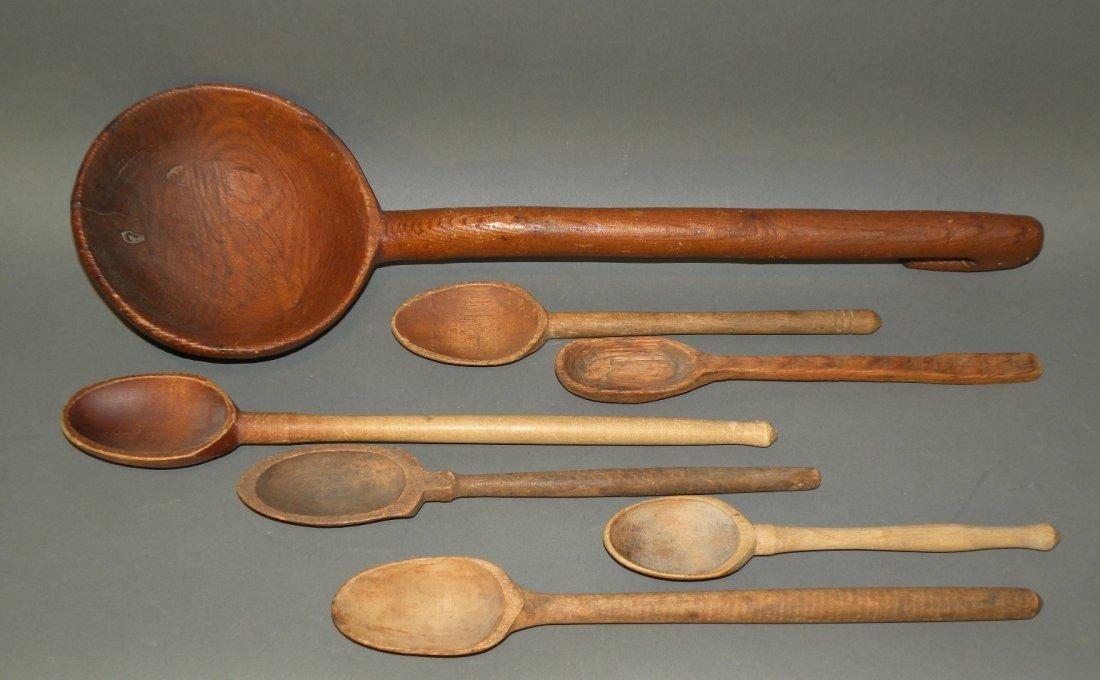 519: Wooden ladle & 6 spoons