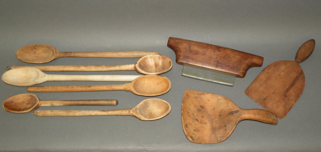 522: 3 wooden tools & 6 spoons
