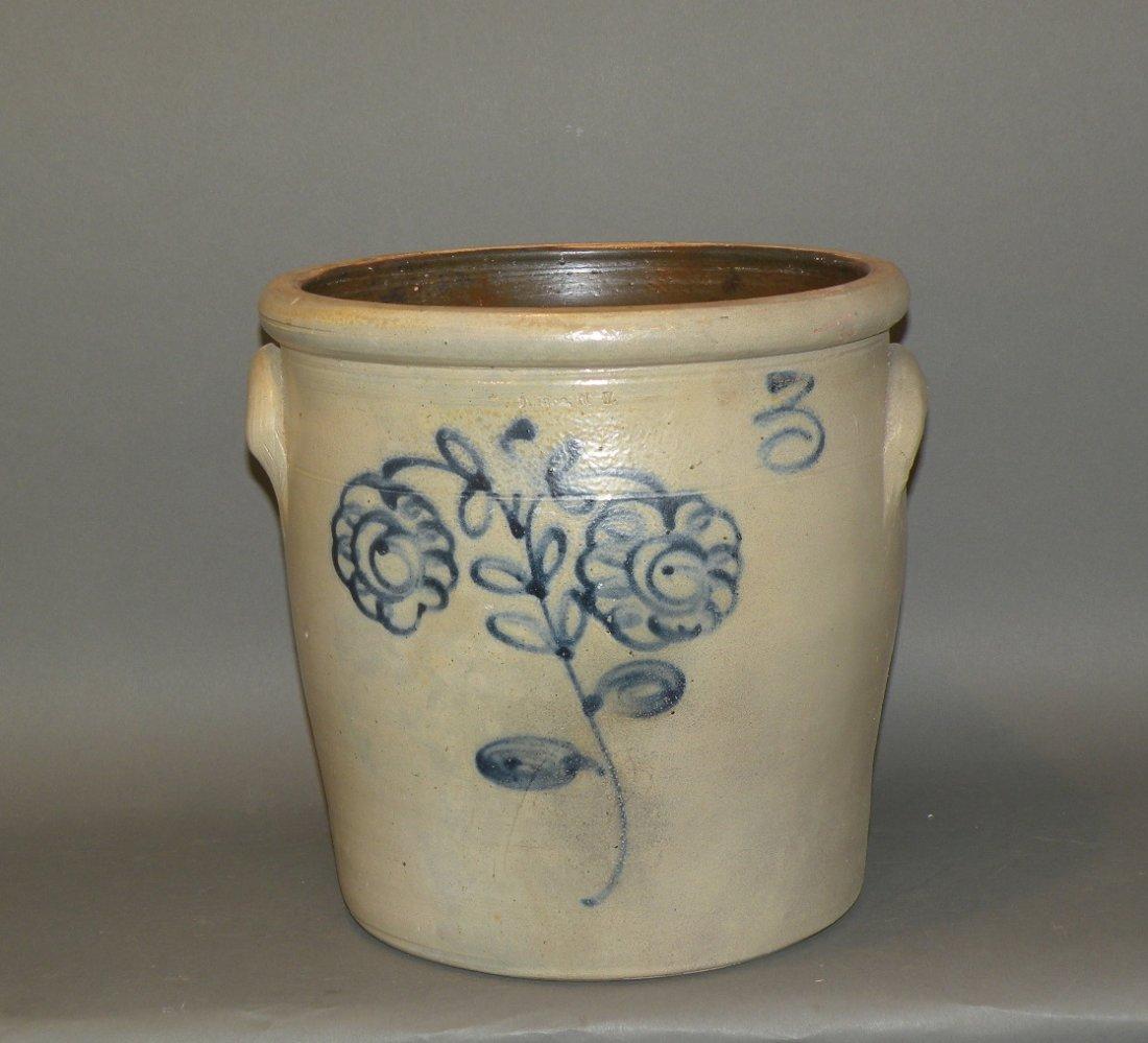 532: 3 gallon cobalt decorated stoneware crock