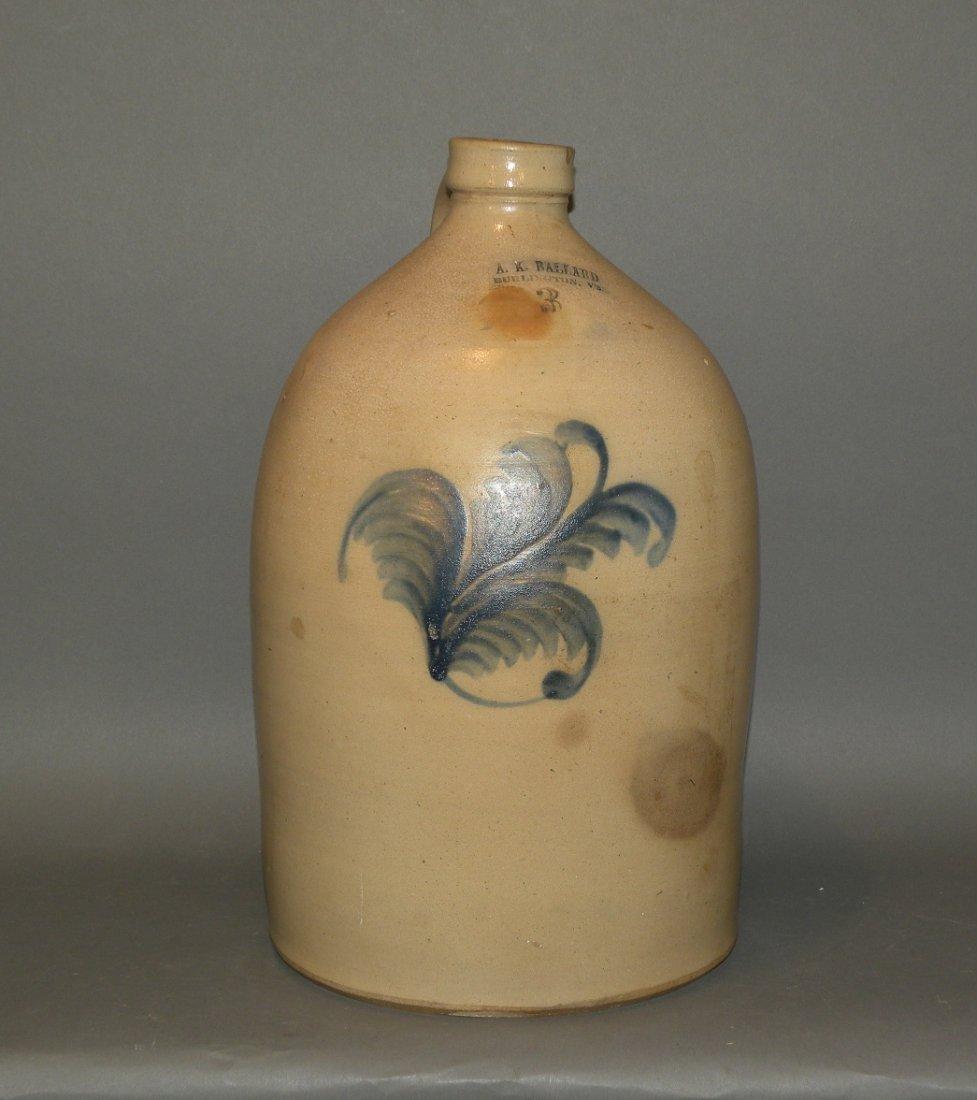 533: Ballard 3 gallon cobalt decorated stoneware jug