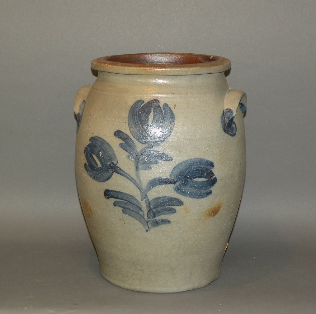 534: 3 gallon cobalt decorated stoneware crock