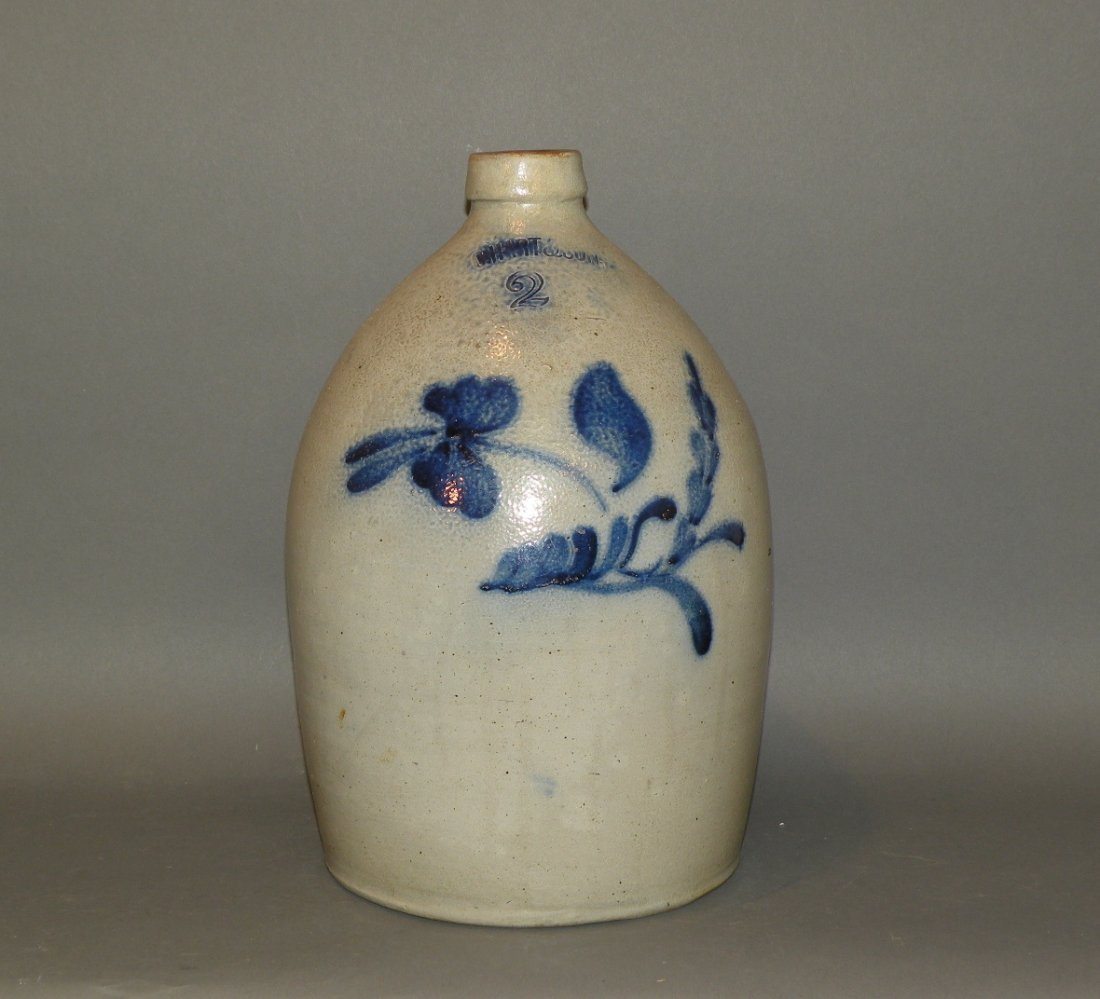 535: Hart 2 gallon cobalt decorated stoneware jug