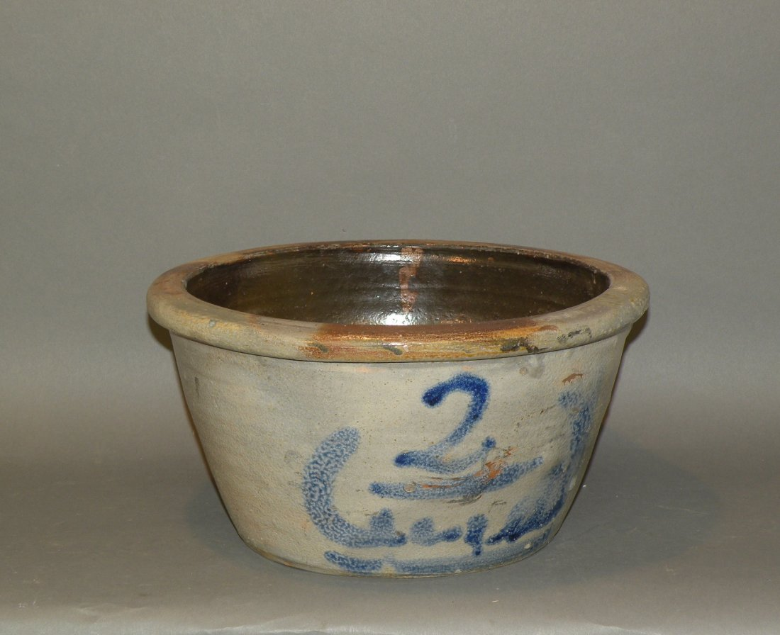 536: 2 gallon cobalt decorated stoneware bowl