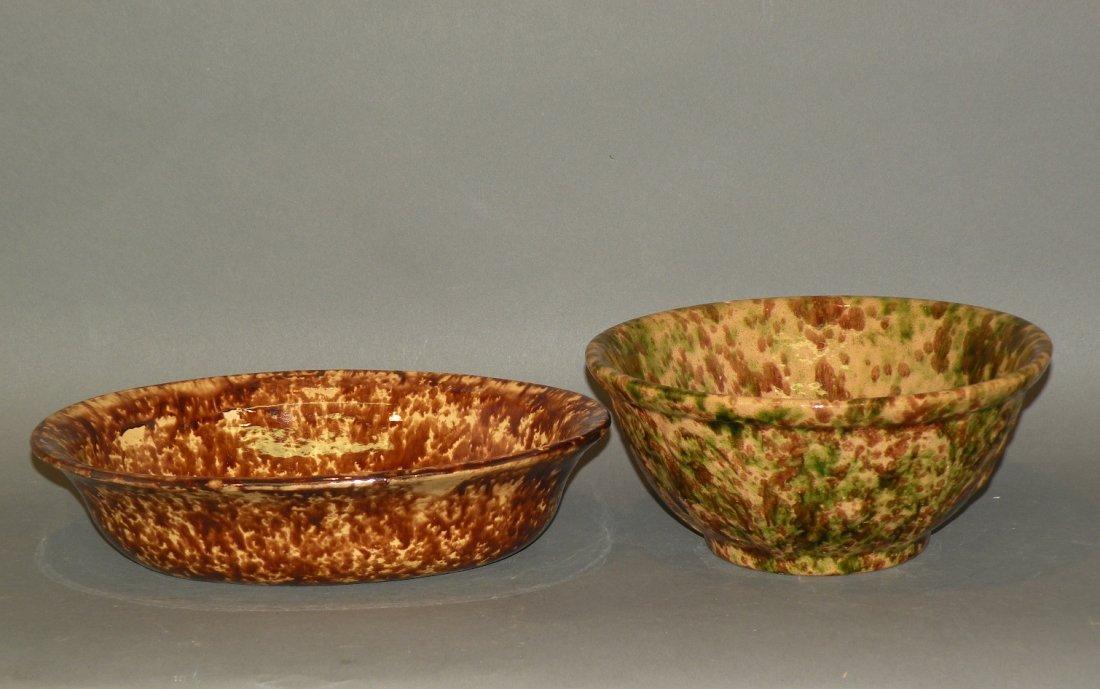 538: 2 Rockingham glaze bowls
