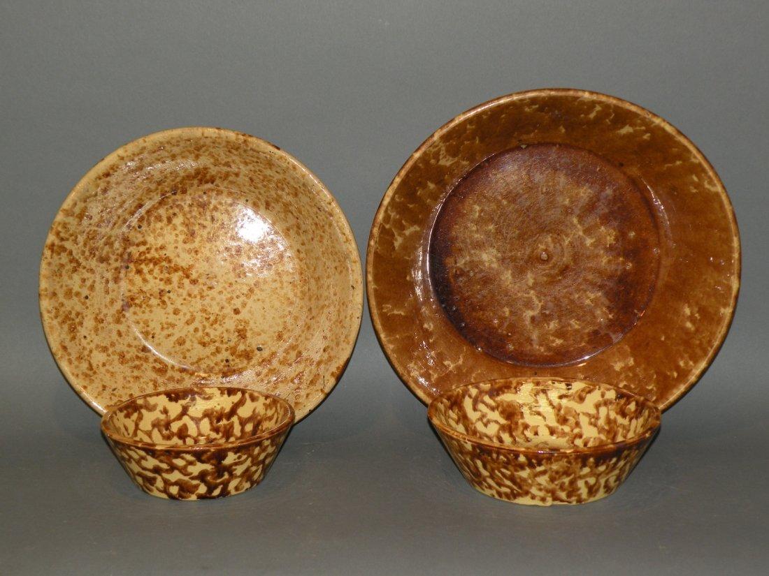 539: 4 Rockingham glaze bowls