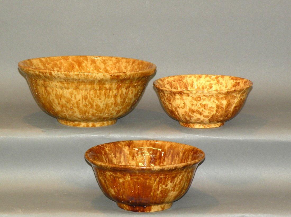 541: 3 Rockingham glaze bowls