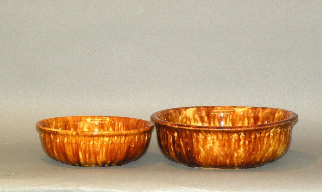 542: 2 Rockingham glaze bowls