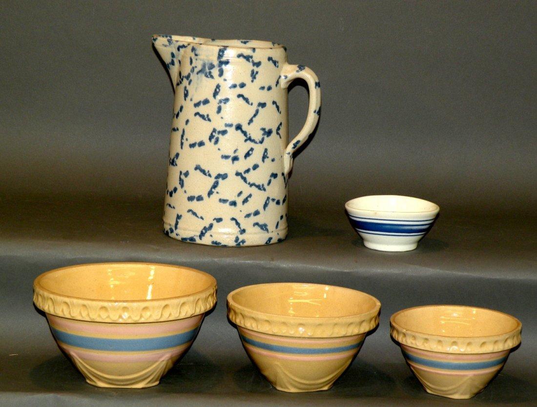 544: Cobalt decorated pitcher & 4 pottery bowls