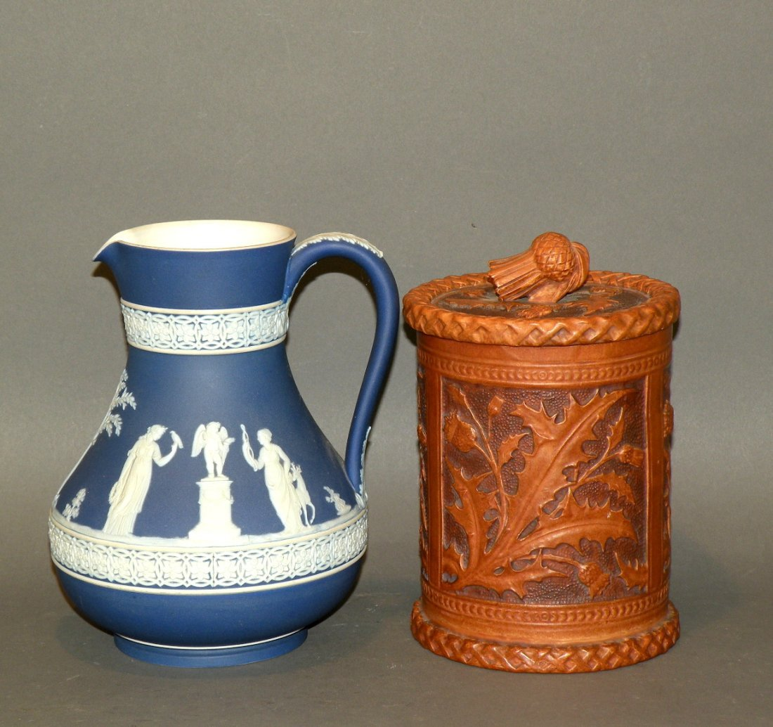 546: Wedgwood jasperware pitcher & thistle molded jar