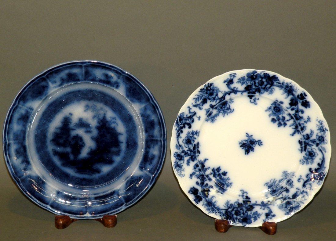 551: 2 flow blue plates