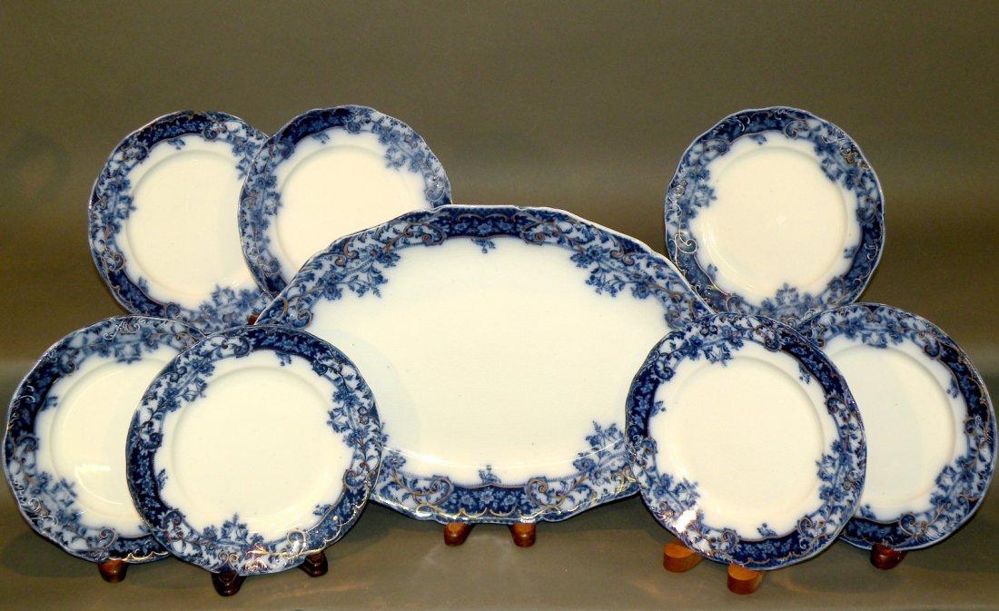 554: 8 pieces of Manhattan pattern flow blue